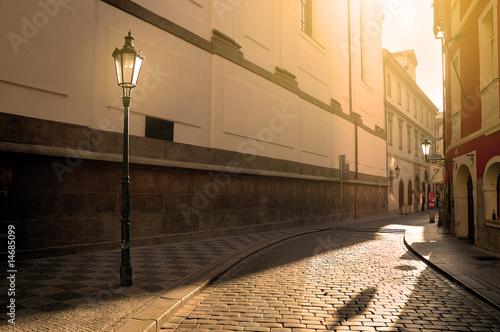 Street in Prague at sunset #14685099