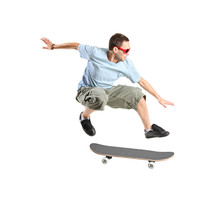 A Skateboarder Jumping Isolate...