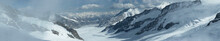 Panorama Of A Glacier In The Swiss Alps
