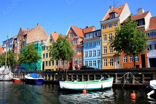 Photo  colorful  houses of copenhagen