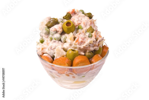 Fotobehang Buffet, Bar russian salad mix