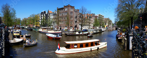 Panorama of canal in Amsterdam
