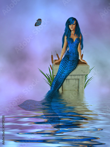 Tuinposter Zeemeermin Blue Mermaid Sitting On A Pedastel In The Ocean