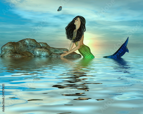 Foto op Plexiglas Zeemeermin Mermaid on Rocks
