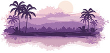 Tropical Landscape In Lilac To...