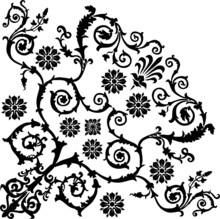 Black Floral Quadrant