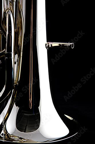 Bass Tuba Euphonium Isolated On Black Canvas Print