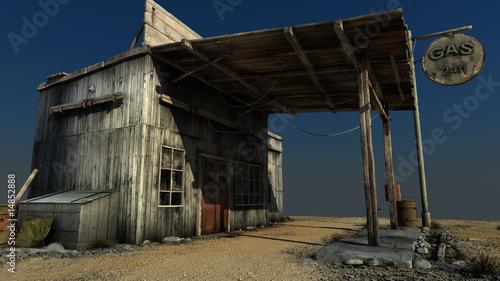 Fotografie, Obraz  abandoned petrol station