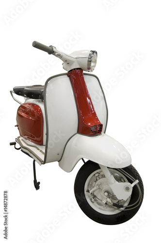 Fotoposter Scooter Vintage red and white scooter (path included)