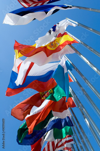 Fotografía  International Flags Blowing in the Wind