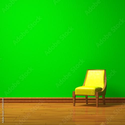 Fototapeta Yellow chair in green minimalist interior obraz na płótnie
