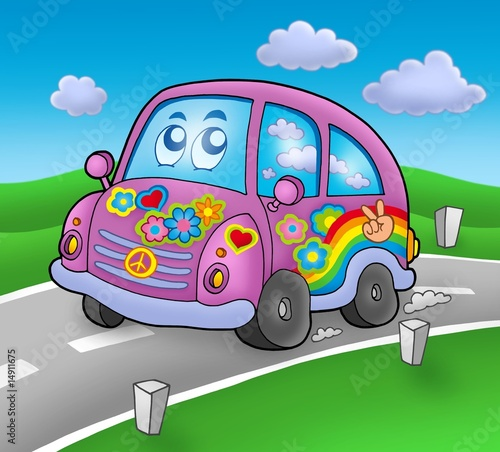 Poster de jardin Voitures enfants Hippie car on road