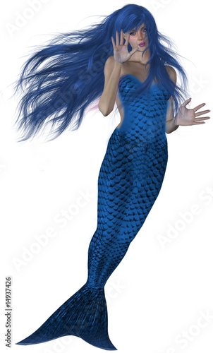 Deurstickers Zeemeermin Swimming Mermaid