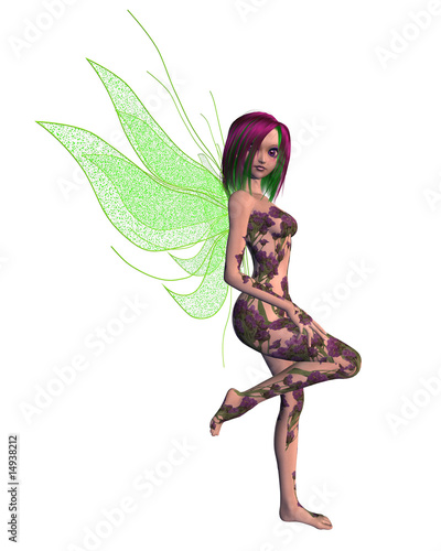 Deurstickers Feeën en elfen Purple Green Flower Fairy