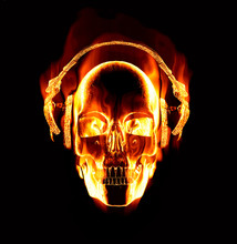 Great Image Of Flaming Skull Wearing Headphones