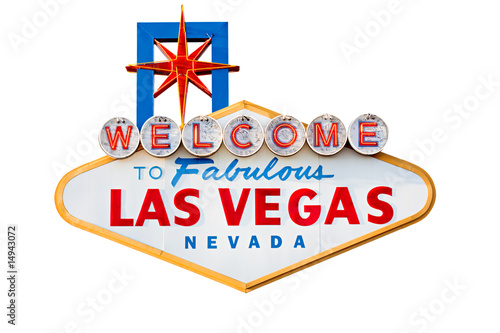 Wall Murals Las Vegas las vegas sign isolated on white - welcome to las vegas