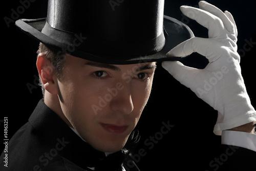 In de dag Illustratie Parijs young magician with high hat