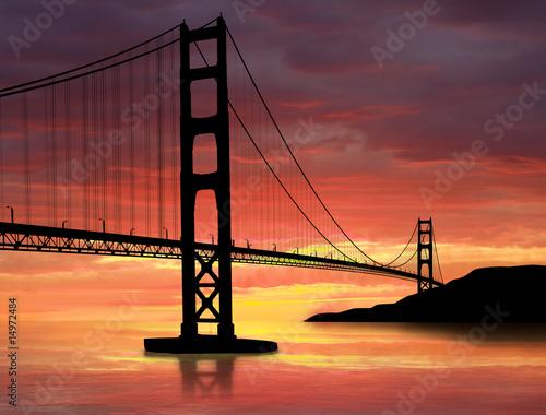 Foto-Kassettenrollo premium - Golden Gate Bridge (von TebNad)