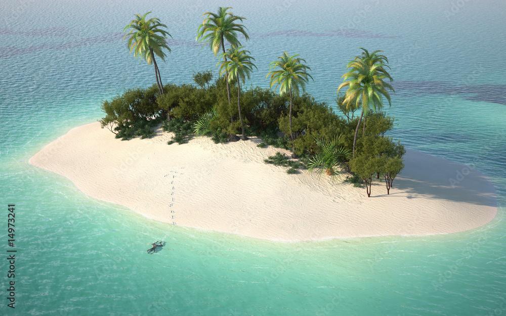 Fototapeta aerial view of caribbeanl desert island