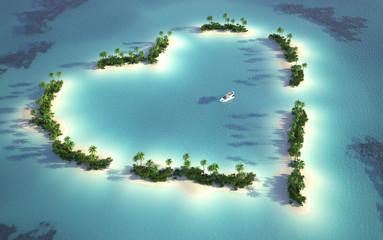 widok z lotu ptaka wyspy w kształcie serca