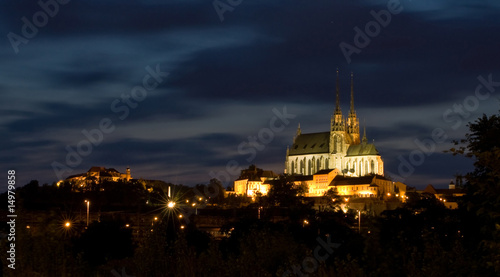 Cathedral Petrov and castle Spilberk at night - Brno.