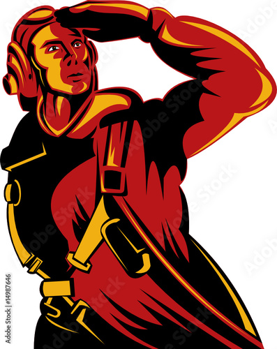 Poster Militaire World War II pilot saluting