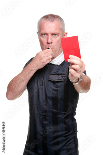 Fotografering  Football referee showing the red card