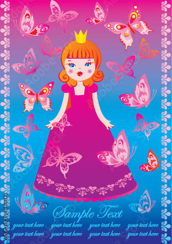 Poster Kasteel Beautiful princess with butterflies and sample text. Fairy-tale