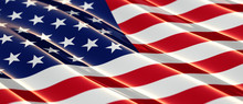 Glossy USA Flag With Shallow Depth Of Field
