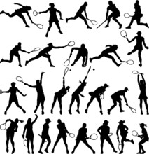 Tennis Players Silhouette Coll...
