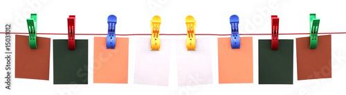 Valokuva  banderole d'étiquettes sur corde à linge avec pinces