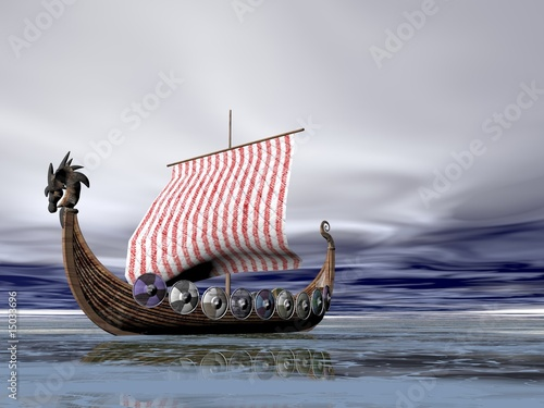Fotografie, Obraz  Viking Ship at Sea