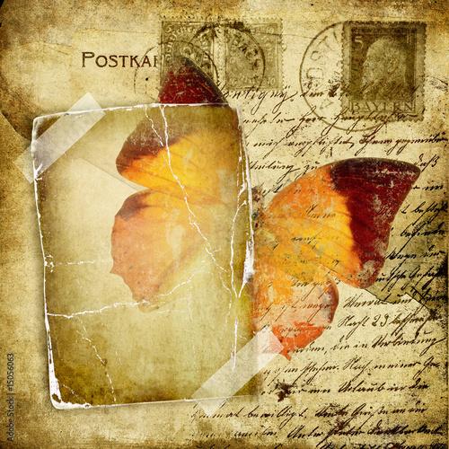 Foto auf Gartenposter Schmetterlinge im Grunge vintage photoalbum pages with butterfly