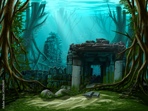 Ancient town ruins. Underwater background. Wallpaper Mural