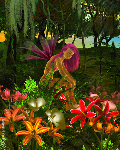Aluminium Prints Fairies and elves Forest Flower Fairy