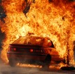 canvas print picture - Car burning, nightshot