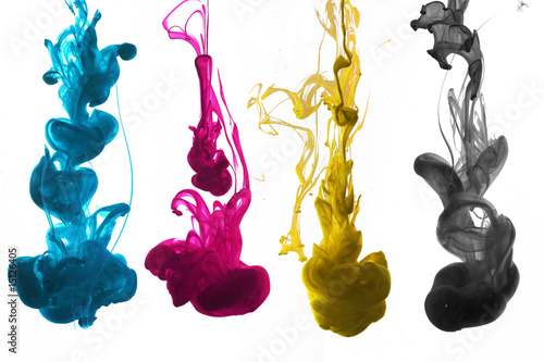 Fotografie, Obraz  cmyk ink underwater isolated