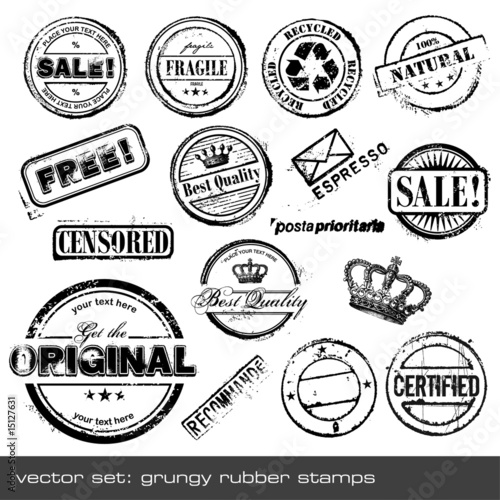 Fotografía  set of different rubber stamps - 16 items