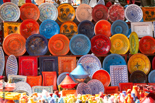 Poster Morocco earthenware in the market