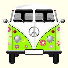 Flowered Hippie Van Isolated O...