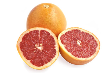 Grapefruits isolated over white.