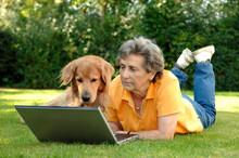 Seniorin Am Laptop Mit Hund