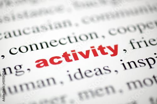 Photo mot activity activité lettres rouge texte flou