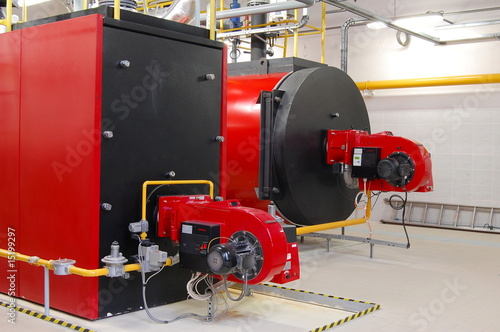 Gas boilers in gas boiler room for steam production - Buy this stock ...