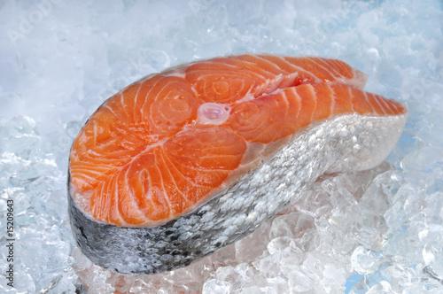 Poster Fish Lachssteak auf Eis