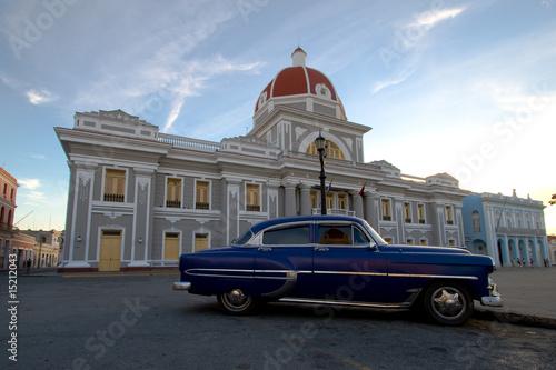 Deurstickers Cubaanse oldtimers Auto Cienfuegos