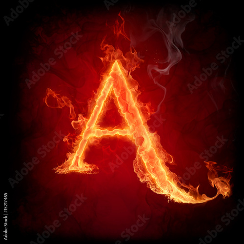 Poster Flamme Fire letter A