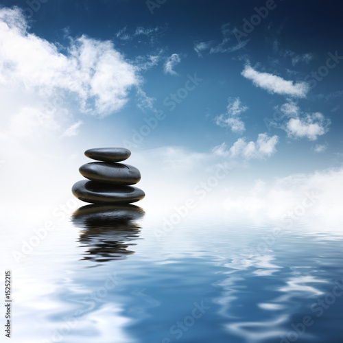Akustikstoff - Zen stones over water