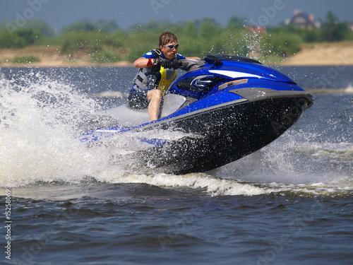Poster Water Motor sports Jumping man on jet ski
