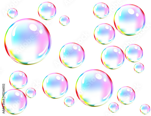Fotografie, Obraz  Vector of colored soap bubbles